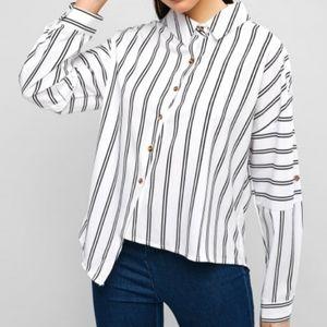 ZAFUL Asymmetrical Black and White Striped Blouse